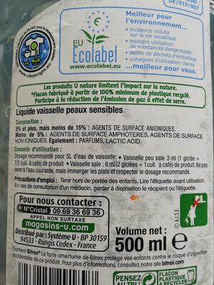 U Nature liquide vaisselle peaux sensibles - Ingredients