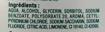 Bain de bouche haleine fraîche - Ingredients