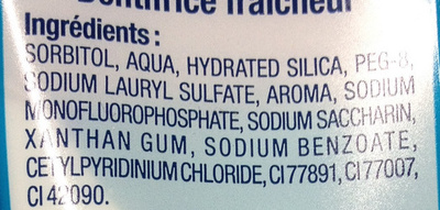 Dentifrice Fraîcheur - Ingredients
