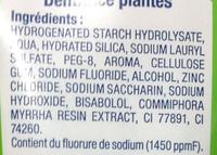 Dentifrice Plantes - Ingrédients