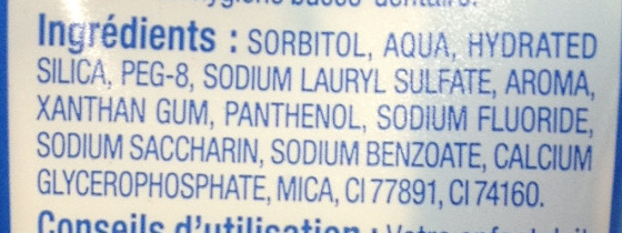 Dentifrice junior Goût menthe douce - Ingredients