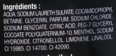 Homme shampooing douche corps et cheveux tonus parfum gingembre et patchouli - Ingredients - fr