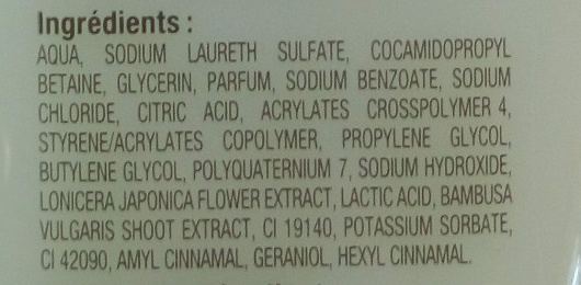 Lait de douche hydratant aux extraits naturels de chèvrefeuille et de bambou - Ingrédients - fr