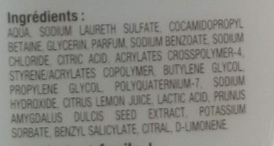 Lait de douche hydratant aux extraits naturels fleur d'amandier citron - Ingredients