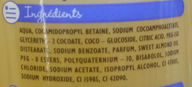 Shampooing doux - Ingrédients