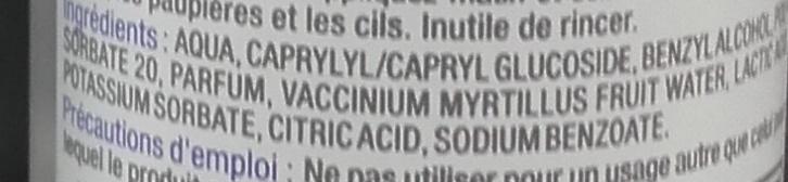 Eau micellaire visage & yeux à l'extrait de myrtille - Ingredients - fr