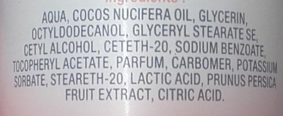 Lait corps hydratant à l'extrait de pêche - Ingredients