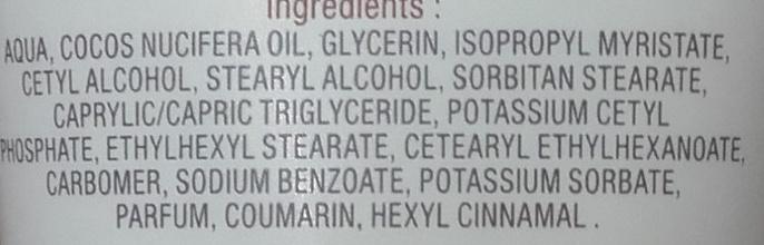 Crème mains hydratante et protectrice à l'extrait de noix de coco - Ingrédients