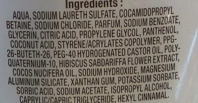 Shampooing doux à l'extrait d'Hibiscus et Lait de Coco - Ingrédients