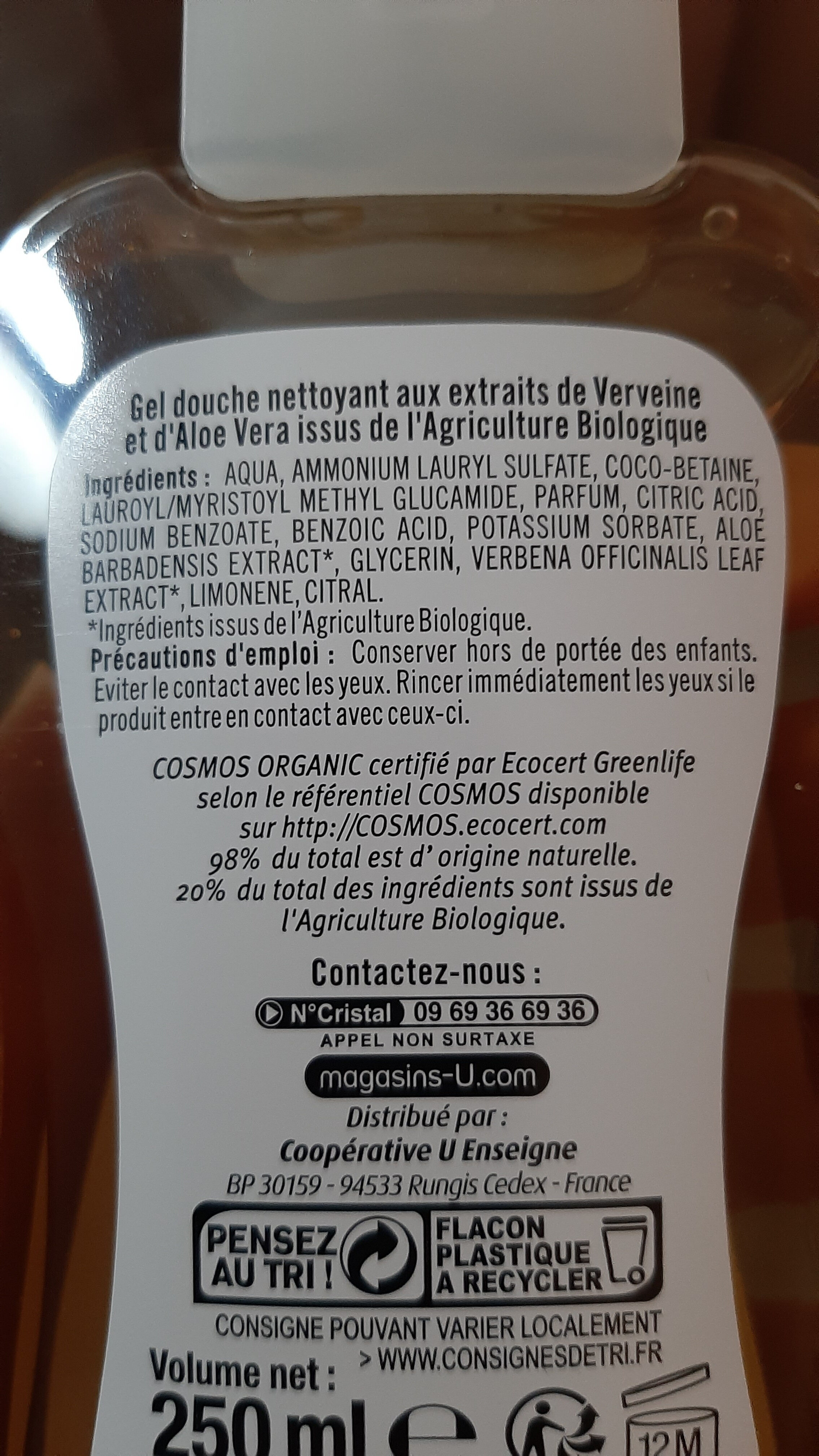 gel douche bio verveine aloe vera - Ingredients - fr