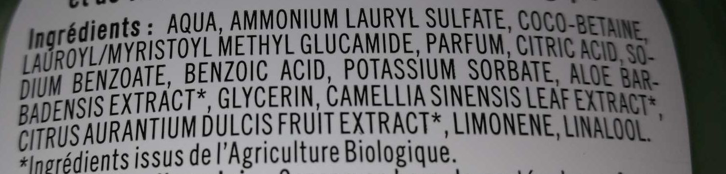 Gel douche bio Orange & Thé vert - Ingredients