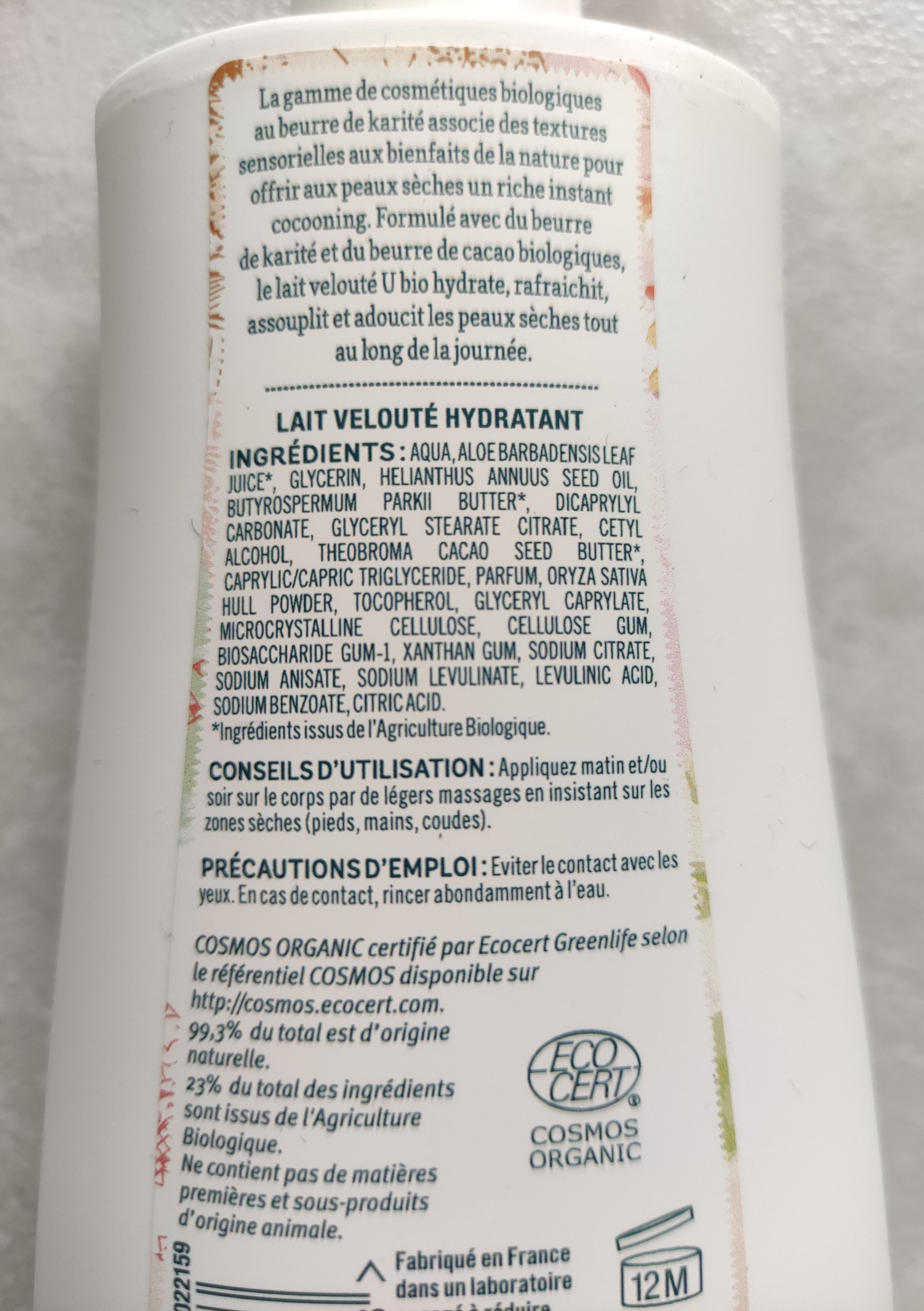 Lait velouté hydratant - Ingredients - fr