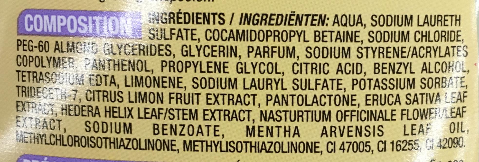 Shampooing Doux cheveux gras Menthe & citron - Ingredients