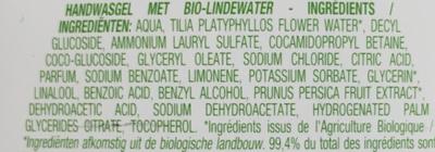 Gel lavant mains à l'eau de tilleul bio - Ingrédients
