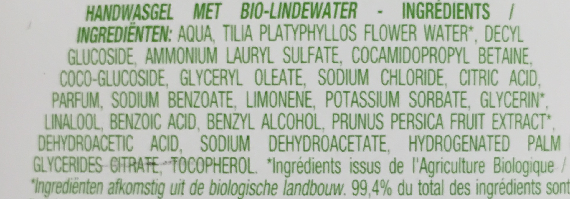 Gel lavant mains à l'eau de tilleul bio - Ingredients