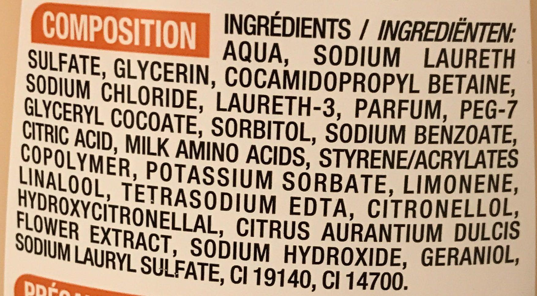 Lait de douche fleur d'oranger - Ingredients