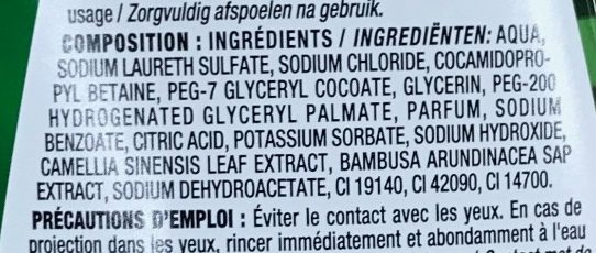 Gel douche Bambou thé vert - Ingredients - fr