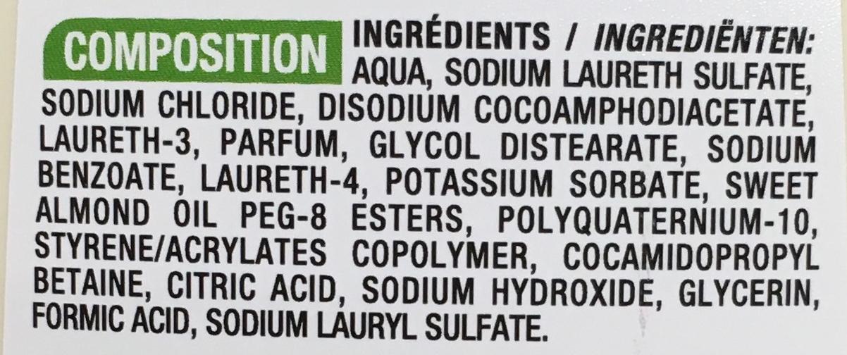 Shampooing Amande douce - Ingredients - fr