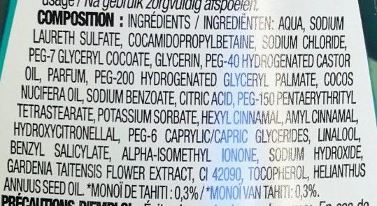 Gel douche Monoï - Ingredients