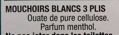 Mouchoirs Menthol Blancs - Ingredients