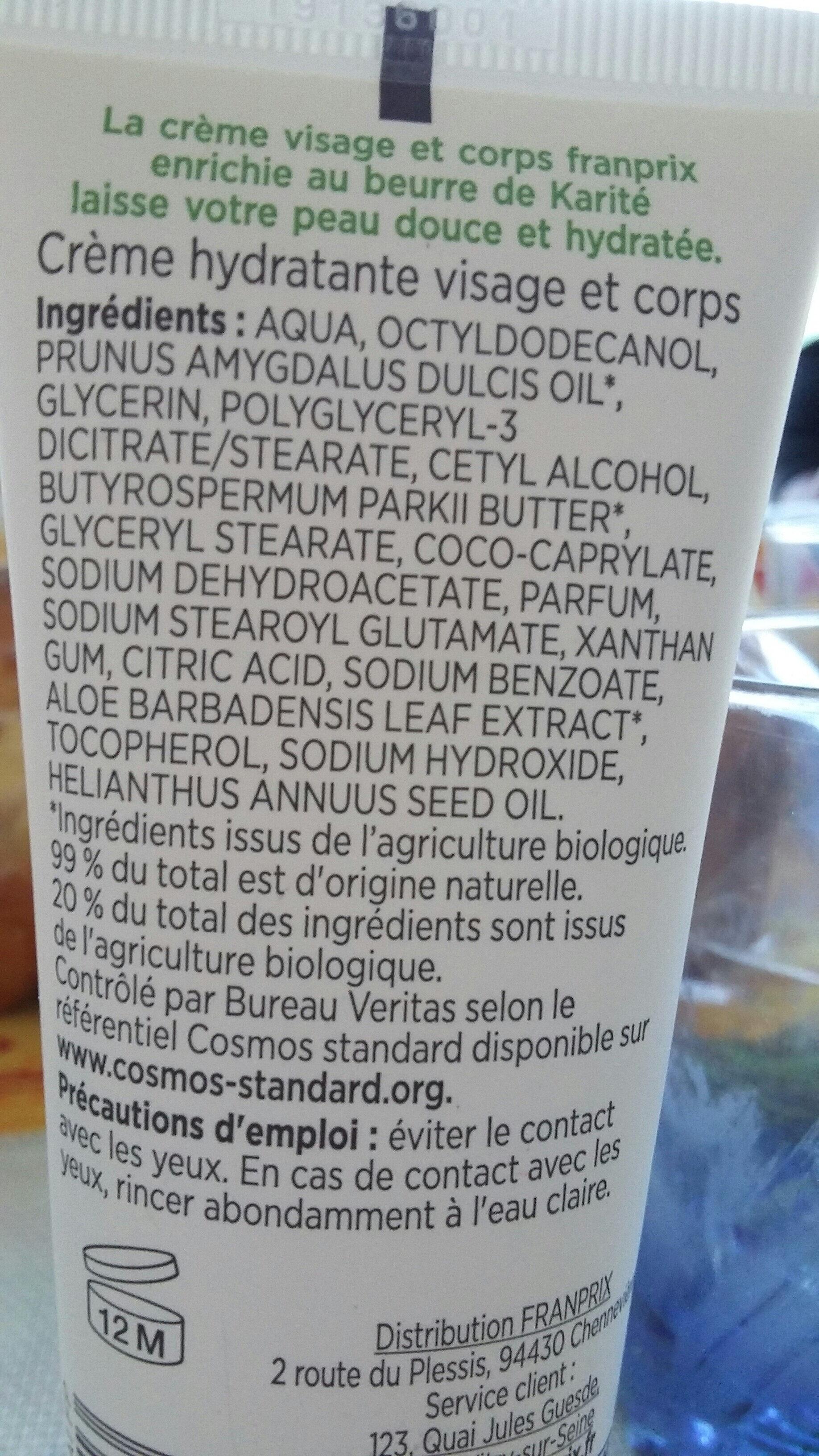 crème hydratante - Ingrédients - fr