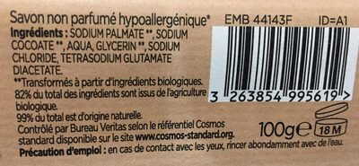 Savon non parfumé hypoallergénique - Ingredients - fr