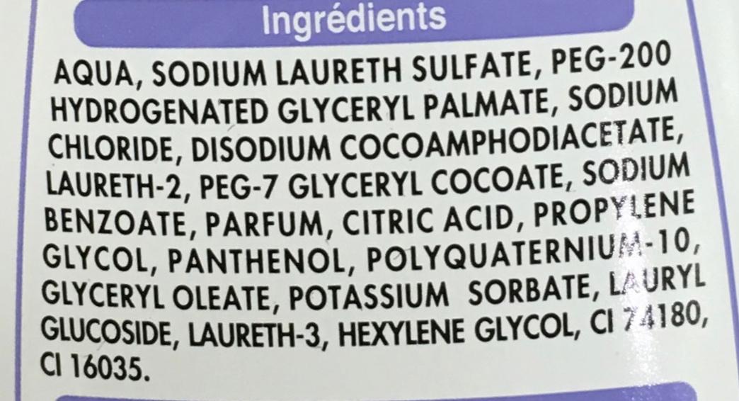 Bébé Gel lavant corps & cheveux - Ingredients