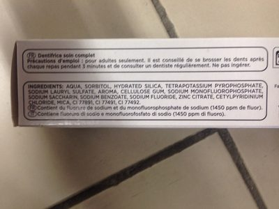 Dentifrice soin complet - Ingredients