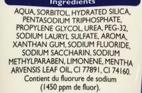 Dentifrice blancheur - Ingredients