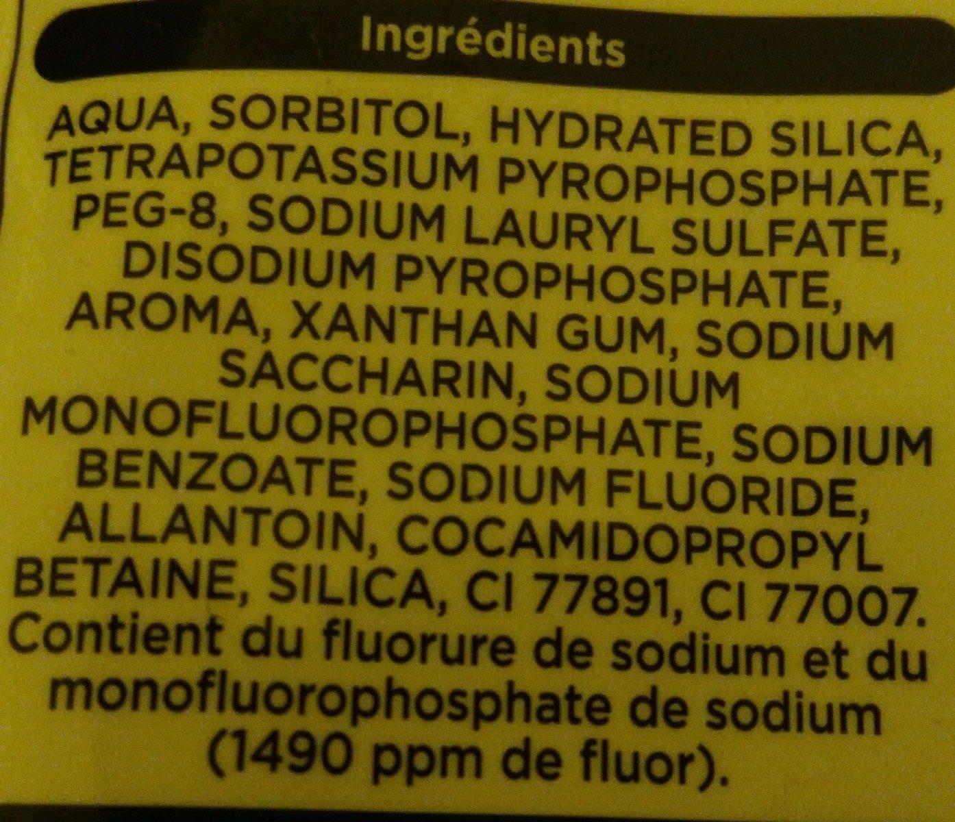 Dentifrice Anti-Tartre - Ingredients