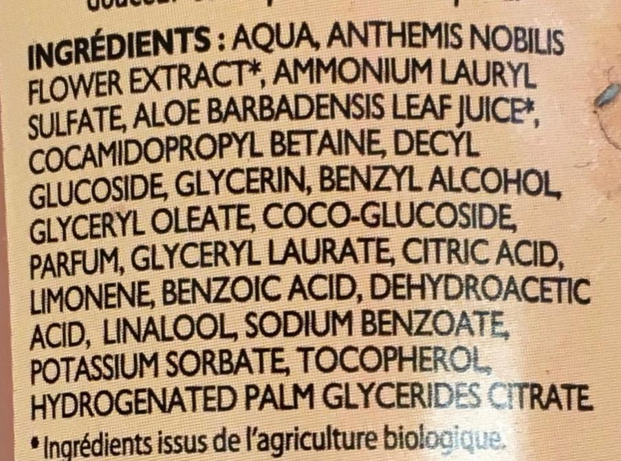 Gel douche bio parfum jasmin & fleur de tiaré - Ingredients