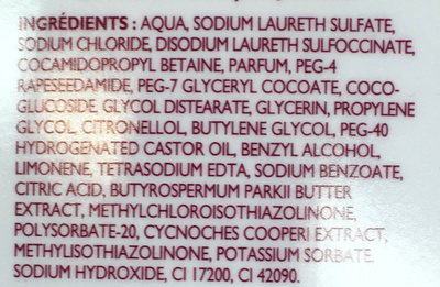 Bain moussant douceur & soin - Ingredients