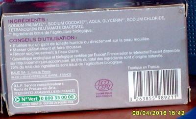 Savon écologique et biologique - Ingredients - fr