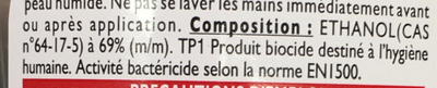 Gel nettoyant mains anti bactérien sans rinçage - Ingrédients - fr