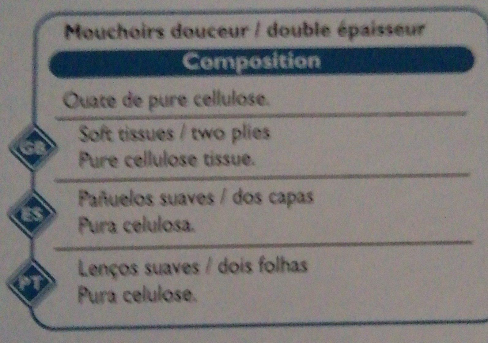 Boite De 110 Mouchoirs Douceur Double épaisseur - Ingrédients