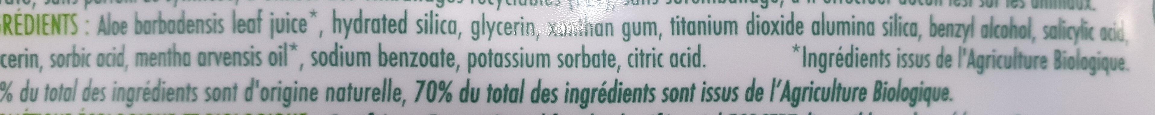Dentifrice Aloe Vera - Ingrédients