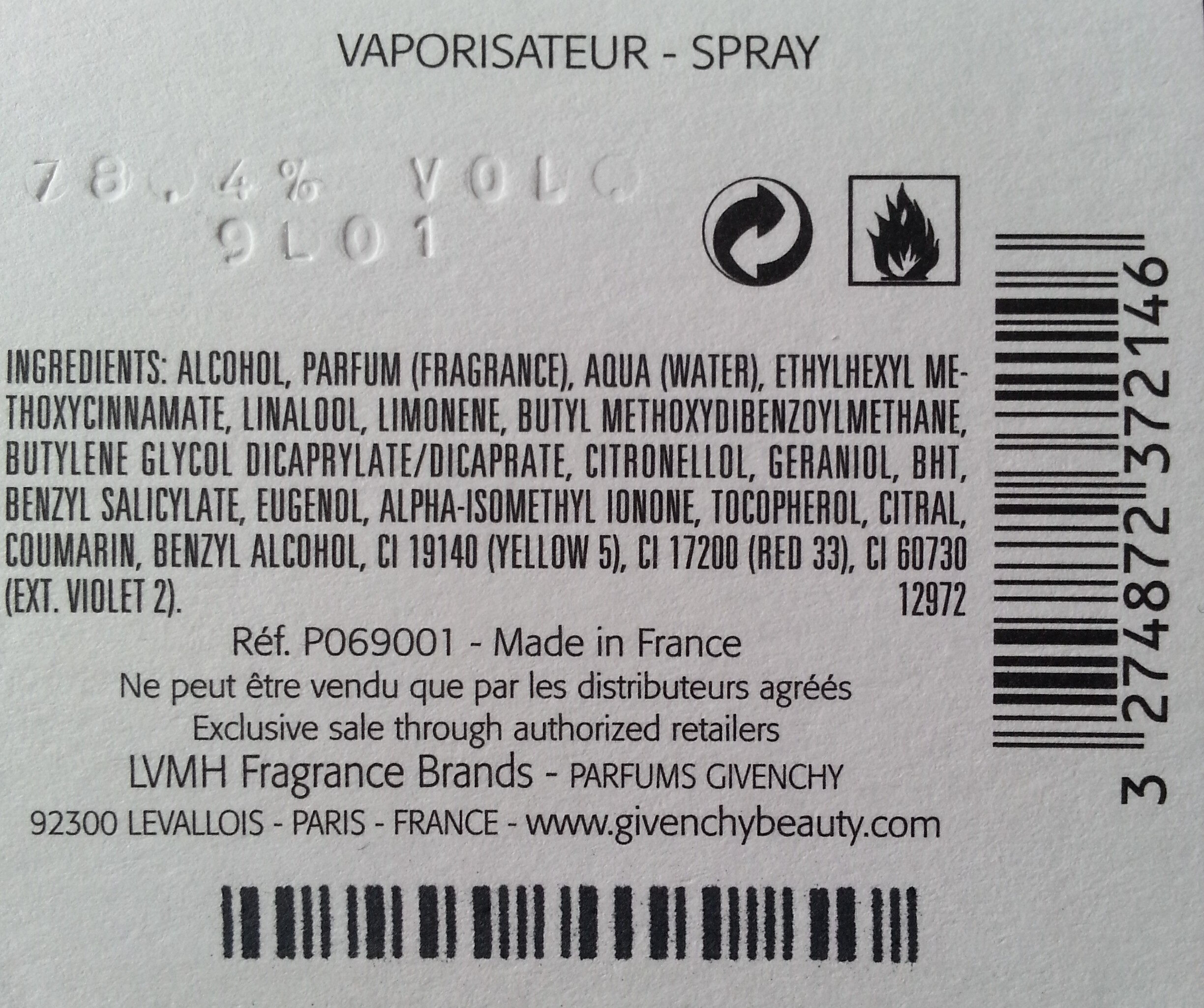 L'interdit - Ingredients