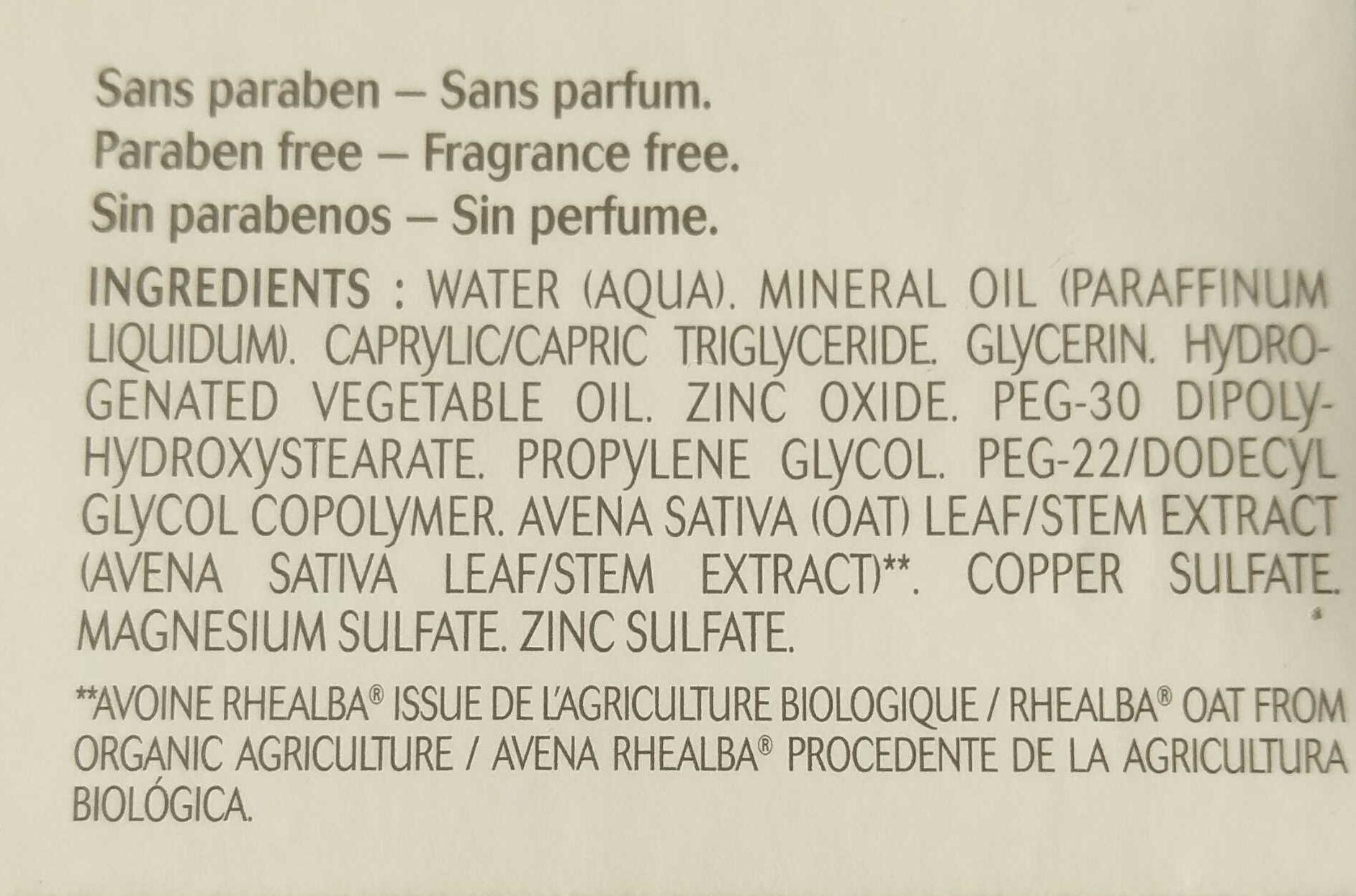 Crème réparatrice Dermalibour+ - Ingredients