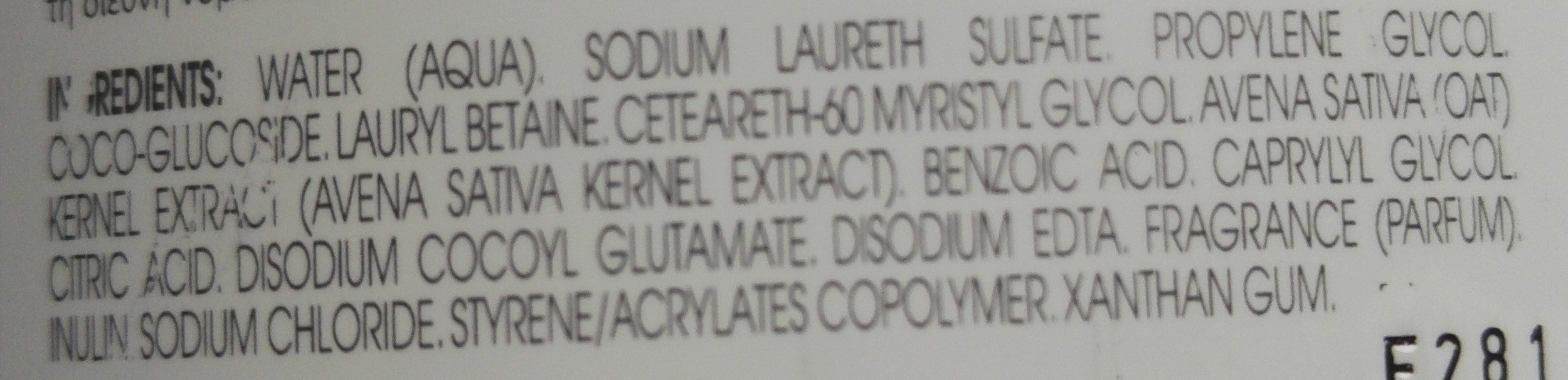 Shampooing extra-doux au lait d'avoine - Ingredients
