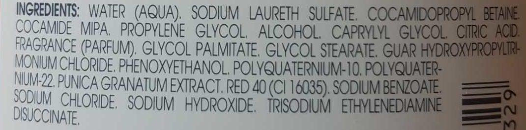 Eclat couleur : shampooing à la grenade cheveux colorés - Ingredients - fr