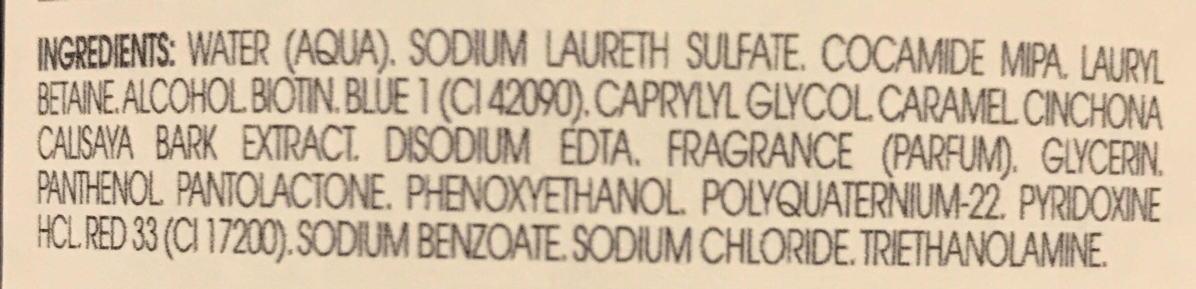 Fortifiant & Stimulant Shampooing à la Quinine et aux Vitamines B - Ingredients