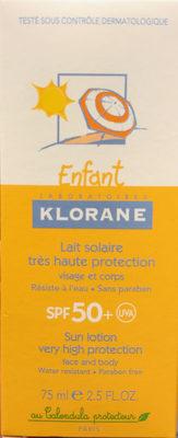 Lait solaire très haute protection SPF 50+ - Produit