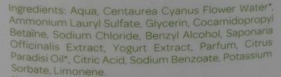 Gel moussant familial eau de bleuet lactosérum - Ingrédients
