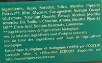 Dentargile Menthe - 75 ML - Cattier - Ingrédients