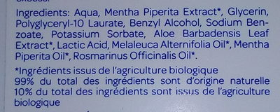 Lotion Purifiante Menthe - Tea Tree - Ingredients