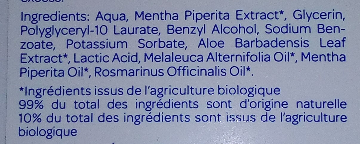 Lotion Purifiante Menthe - Tea Tree - Ingredients - fr
