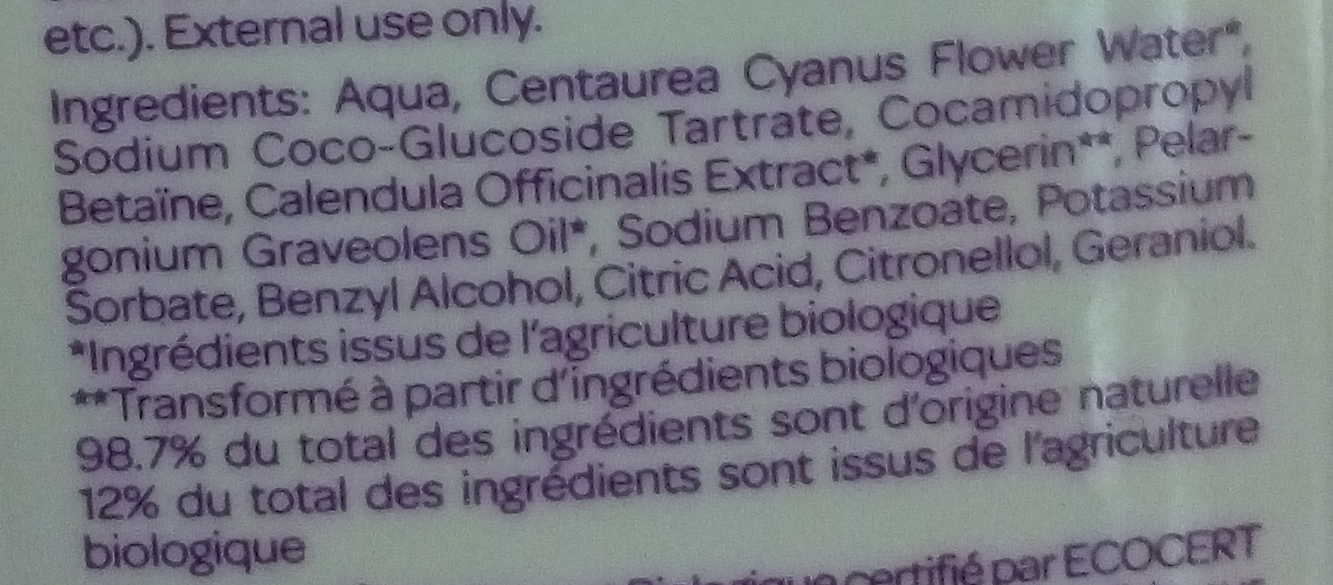 Gynea Soin Douceur Toilette Intime - Ingredients