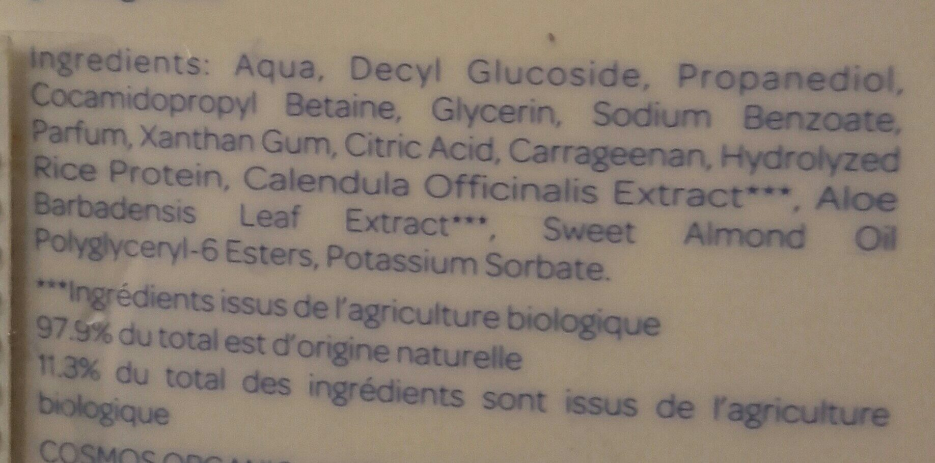 Gel lavant doux - Ingredients - fr