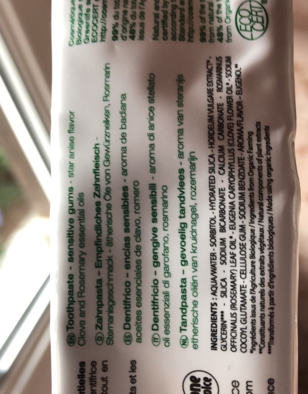Dentifrice gencives sensibles - Ingredients