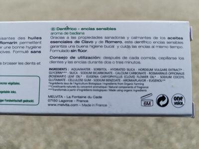 DENTIFRICE gencives sensibles - Ingrédients - fr